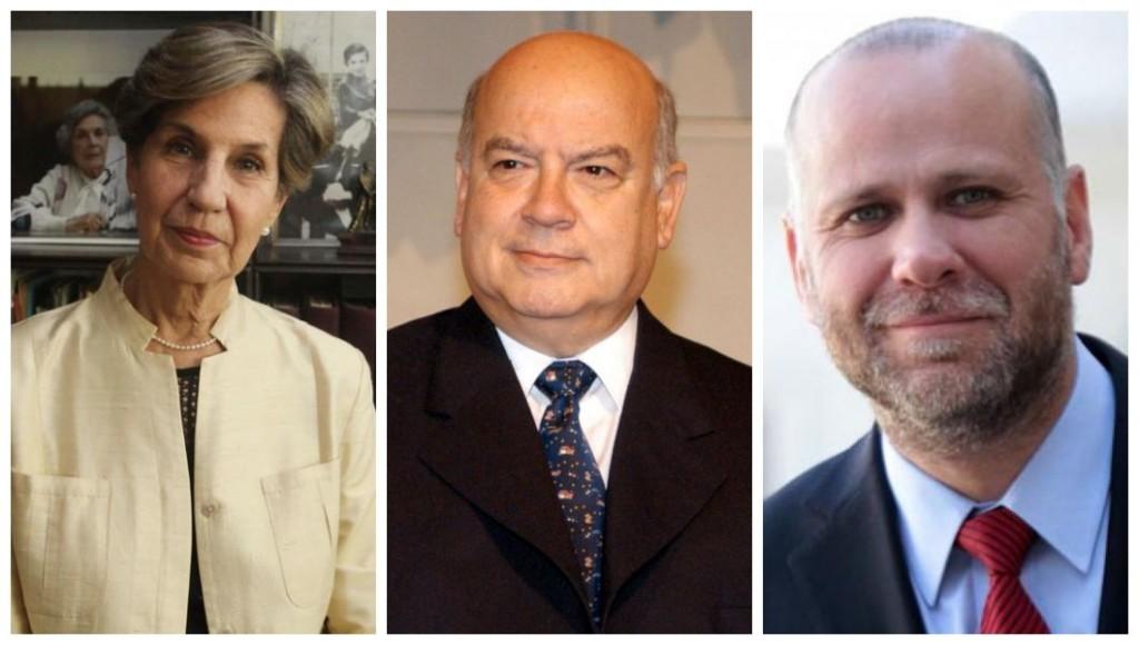 Senadores eleitos pelo PS do Chile: Isabel Allende, José Miguel Insulza e Álvaro Elizalde